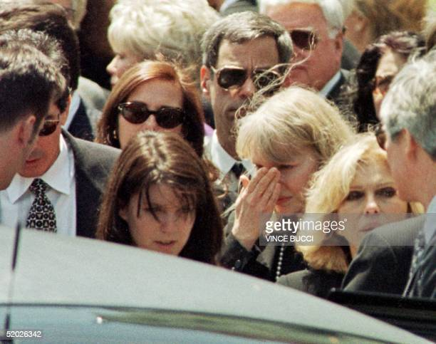 Actress Mia Farrow a former wife of Frank Sinatra cries following funeral services for the legendary entertainer at the Good Shepherd Catholic Church...