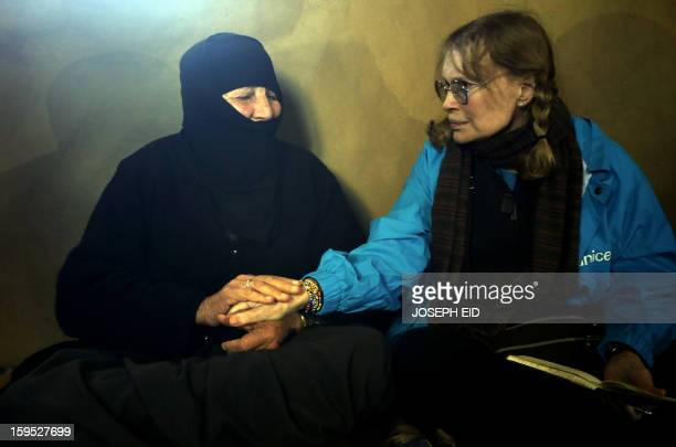 Actress Mia Farrow , a UNICEF goodwill ambassador, visits Syrian refugees in Baalbek, in the Lebanese Bekaa valley on January 15, 2013. Farrow is on...
