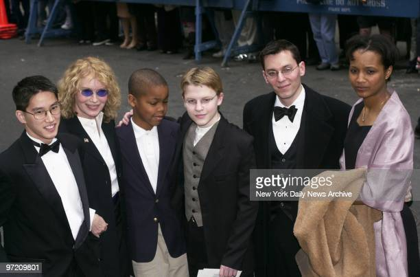 Actress Mia Farrow and her children arrive at Marble Collegiate Church on Fifth Ave for the wedding of Liza Minnelli and David Gest