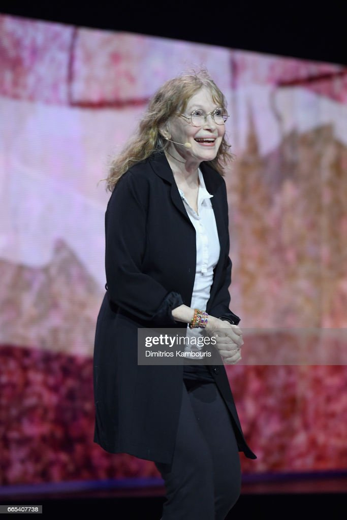 Actress Mia Farrow on stage during WE Day New York Welcome to celebrate young people changing the world at Radio City Music Hall on April 6, 2017 in New York City.
