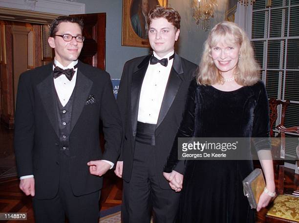 Actress Mia Farrow poses with her sons Fletcher and Lukas at the 1998 Kennedy Center Honors December 5 1998 in Washington DC Each year the Kennedy...