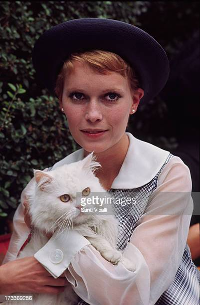Actress Mia Farrow posing with a cat on February 21968 in New York New York