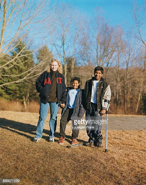 Actress Mia Farrow Standing with Two of Her Children Thaddeus Wilk Farrow