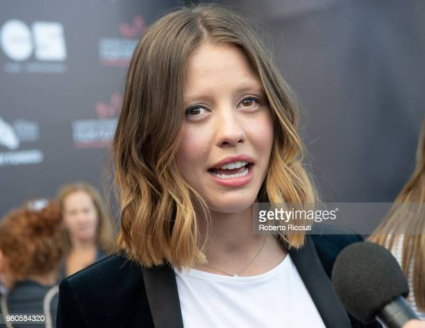 Actress Mia Goth answer to an interview during a photocall for the UK Premiere of 'The Secret of Marrowbone' during the 72nd Edinburgh International...