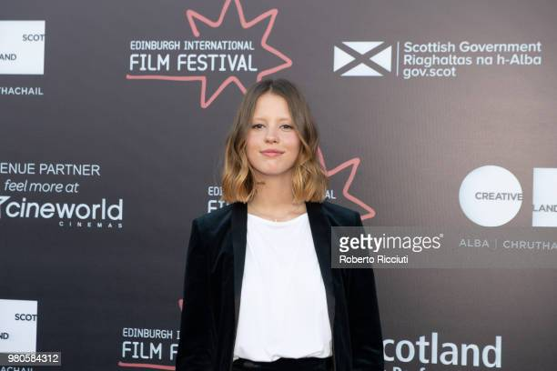 Actress Mia Goth attends a photocall for the UK Premiere of 'The Secret of Marrowbone' during the 72nd Edinburgh International Film Festival at...