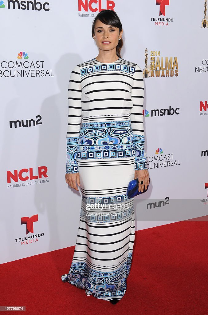 Actress Mia Maestro arrives at the 2014 NCLR ALMA Awards at Pasadena Civic Auditorium on October 10, 2014 in Pasadena, California.