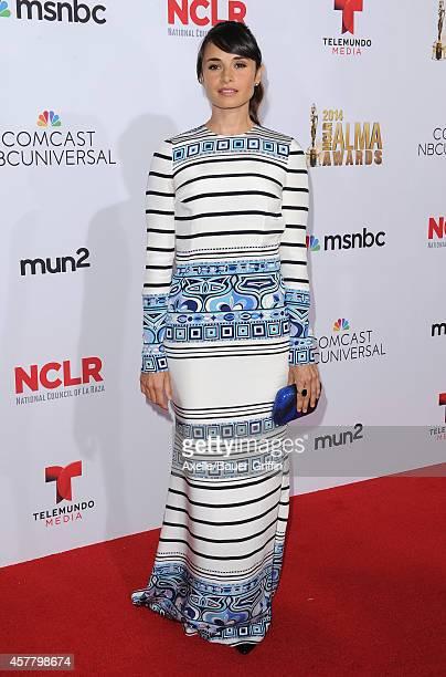 Actress Mia Maestro arrives at the 2014 NCLR ALMA Awards at Pasadena Civic Auditorium on October 10 2014 in Pasadena California