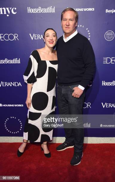 Actress Mia Moretti and Founding Chair James Huniford attend Housing Works' Design on a Dime at Metropolitan Pavilion on April 26 2018 in New York...