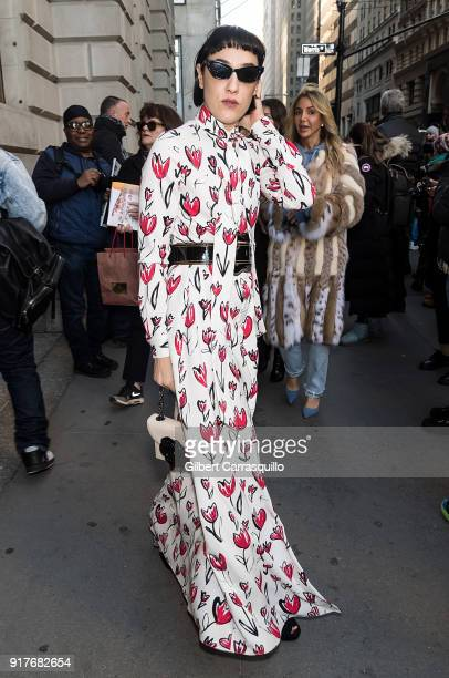 Actress Mia Moretti is seen arriving to the Oscar de la Renta fashion show during New York Fashion Week at The Cunard Building on February 12 2018 in...