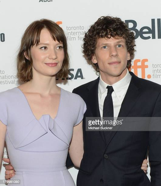 Actress Mia Wasikowska and actor Jesse Eisenberg arrive to the premiere of 'The Double' during the 2013 Toronto International Film Festival at Winter...