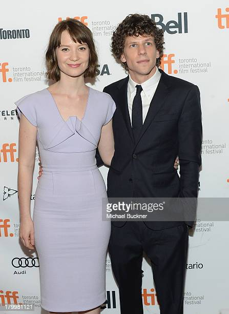 Actress Mia Wasikowska and actor Jesse Eisenberg arrive to the premiere of The Double during the 2013 Toronto International Film Festival at Winter...