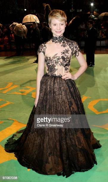 Actress Mia Wasikowska arrives at the Royal World Premiere of 'Alice In Wonderland' at Odeon Leicester Square on February 25 2010 in London England