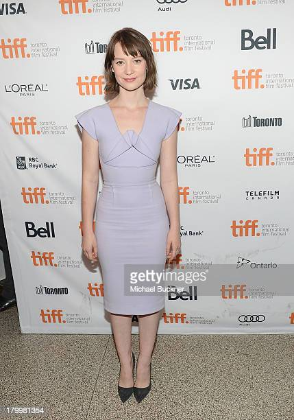 Actress Mia Wasikowska arrives to the premiere of The Double during the 2013 Toronto International Film Festival at Winter Garden Theatre on...