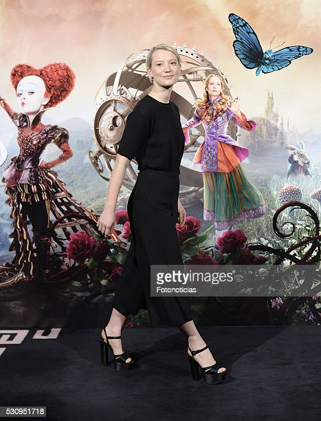 Actress Mia Wasikowska attends a photocall for 'Alice Through The Looking Glass' at the Santo Mauro Hotel on May 12 2016 in Madrid Spain