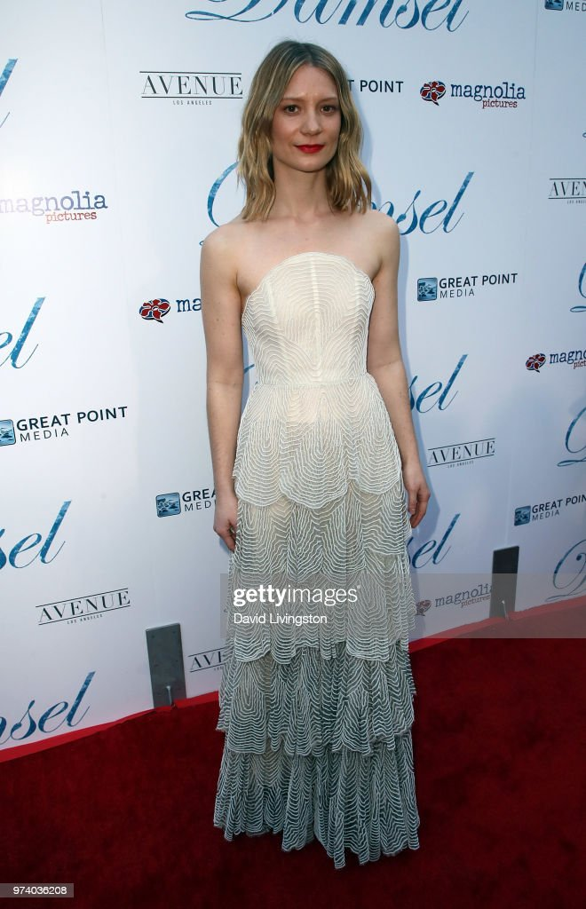 Actress Mia Wasikowska attends Magnolia Pictures' 'Damsel' premiere at ArcLight Hollywood on June 13, 2018 in Hollywood, California.