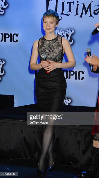 Actress Mia Wasikowska attends the 'Alice In Wonderland' Great Big Ultimate Fan Event at Hollywood Highland Courtyard on February 19 2010 in...