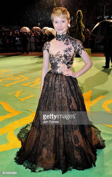 Actress Mia Wasikowska attends the Royal World Premiere of Tim Burton's 'Alice In Wonderland' at the Odeon Leicester Square on February 25 2010 in...