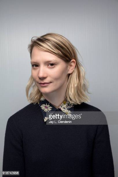 Actress Mia Wasikowska from the film 'Piercing' is photographed for Los Angeles Times on January 21 2018 in the LA Times Studio at Chase Sapphire on...