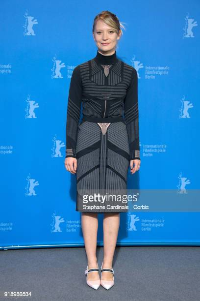 Actress Mia Wasikowska poses at the 'Damsel' photo call during the 68th Berlinale International Film Festival Berlin at Grand Hyatt Hotel on February...