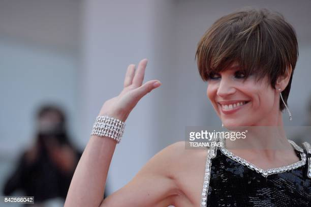 Actress Micaela Ramazzoti attends the premiere of the movie 'Una Famiglia' presented in competition at the 74th Venice Film Festival on September 4...