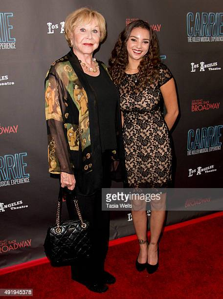 Actress Michael Learned and Aleta Soron arrive at Carrie The Killer Musical Experience Opening Night Red Carpet at Los Angeles Theatre on October 8...