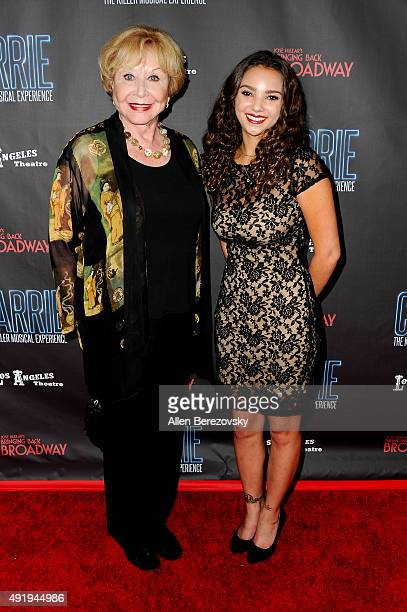 Actress Michael Learned and Alita Soron attend the Carrie The Killer Musical Experience opening night red carpet at Los Angeles Theatre on October 8...