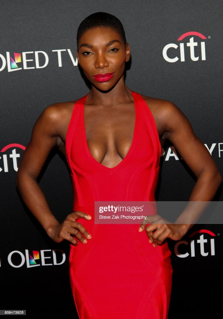 Actress Michaela Coel attends PaleyFest NY 2017 'Black Mirror' at The Paley Center for Media on October 6, 2017 in New York City.