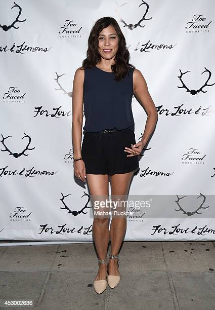 Actress Michaela Conlin attends For Love and Lemons annual SKIVVIES party cohosted by Too Faced and performance by The Shoe at The Carondelet House...