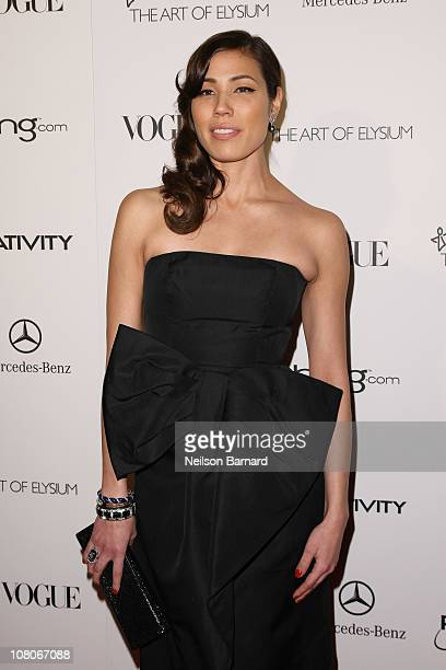 Actress Michaela Conlin attends the Art Of Elysium Heaven Gala 2011 at The California Science Center Exposition Park on January 15 2011 in Los...