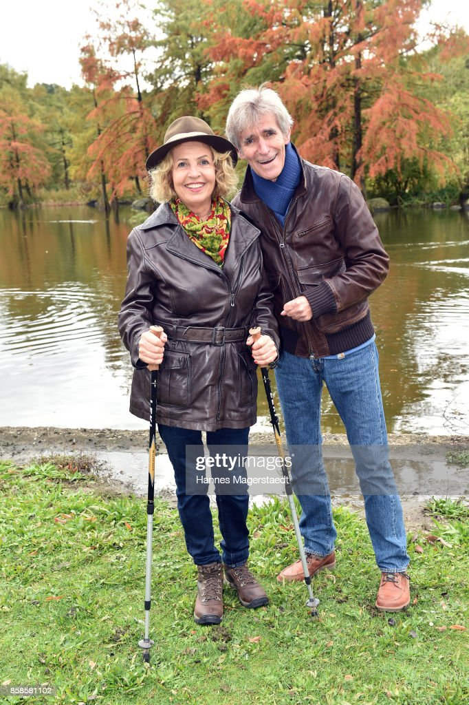 Actress Michaela May and her husband Bernd Schadewald during the charity walk for the Mukoviszidose e. V. at Westpark on October 7, 2017 in Munich, Germany.