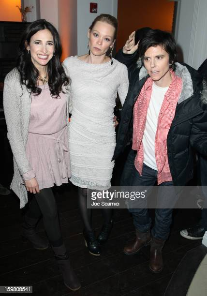 Actress Michaela Watkins Alexandra Holden and comedian Tig Notaro attend 'In A World' Dinner on January 20 2013 in Park City Utah