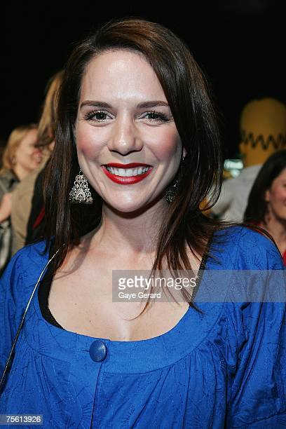 Actress Michala Banas from' McLeods Daughters' arrives on the yellow carpet at 'The Simpsons Movie' Australian premiere at Hoyts Entertainment...