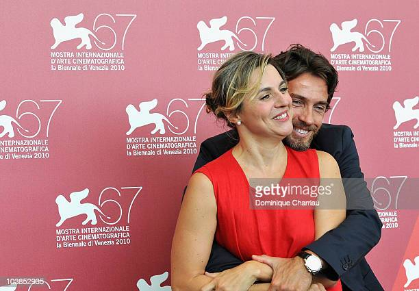 Actress Michela Cescon and actor Alessio Boni attend the 'Come Un Soffio' photocall at the Palazzo del Casino during the 67th International Venice...