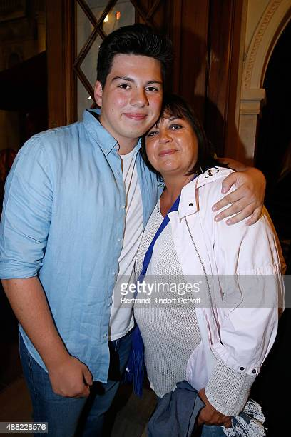 Actress Michele Bernier and her son Enzo Gaccio attend 'Le Mensonge' Theater Play Held at Theatre Edouard VII on September 14 2015 in Paris France