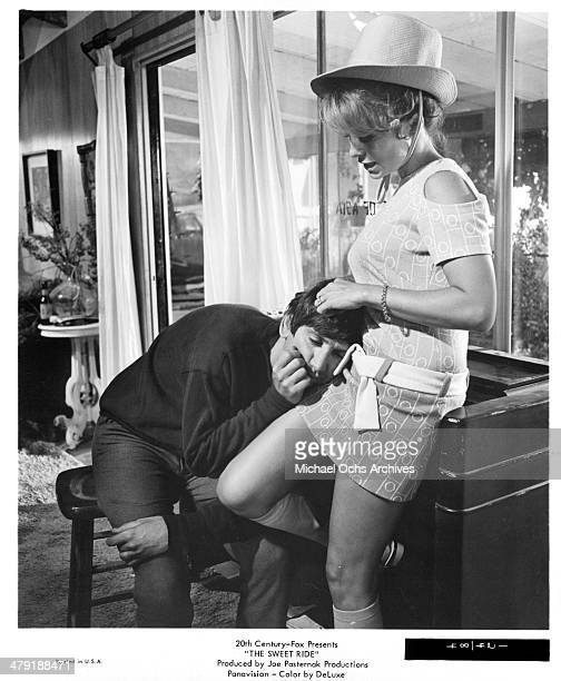 Actress Michele Carey and actor Bob Denver in a scene from the 20th Century Fox movie The Sweet Ride circa 1968