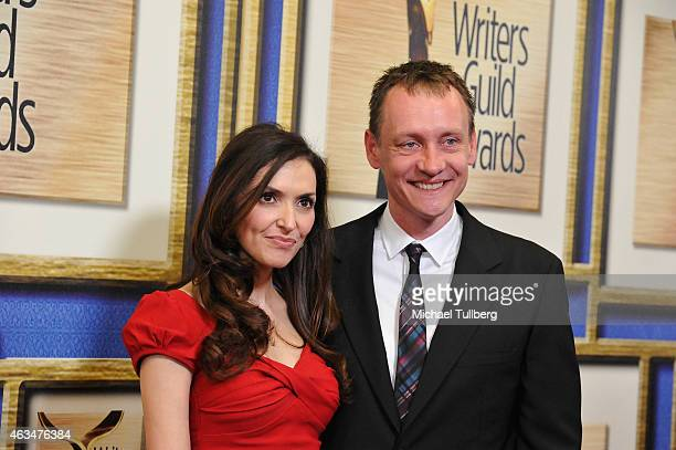 Actress Michele Maika and writer Alec Berg attend the 2015 Writers Guild Award LA Ceremony at the Hyatt Regency Century Plaza on February 14 2015 in...