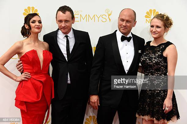 Actress Michele Maika writer/producer Alec Berg director Mike Judge and Lily Judge attend the 66th Annual Primetime Emmy Awards held at Nokia Theatre...
