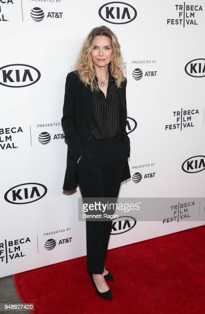 Actress Michele Pfeiffer poses for a picture during the 2018 Tribeca Film Festival Scarface reunion at the Beacon Theatre on April 19 2018 in New...