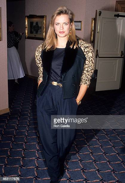 Actress Michele Scarabelli attends the Party to Celebrate Alex Ben Block's New Book Outfoxed on March 21 1990 at the Bel Age Hotel in West Hollywood...