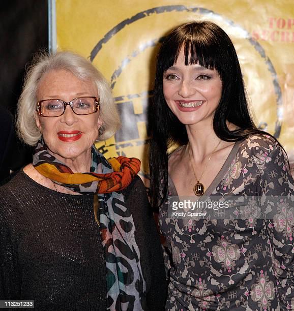Actress' Micheline Presle and Maria de Medeiros attend the 'Hitler A Hollywood' Paris Premiere at UGC Cine Cite des Halles on April 28 2011 in Paris...