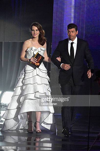 Actress Michelle Dockery and actor Kyle Chandler speak onstage during the 68th Annual Primetime Emmy Awards at Microsoft Theater on September 18 2016...