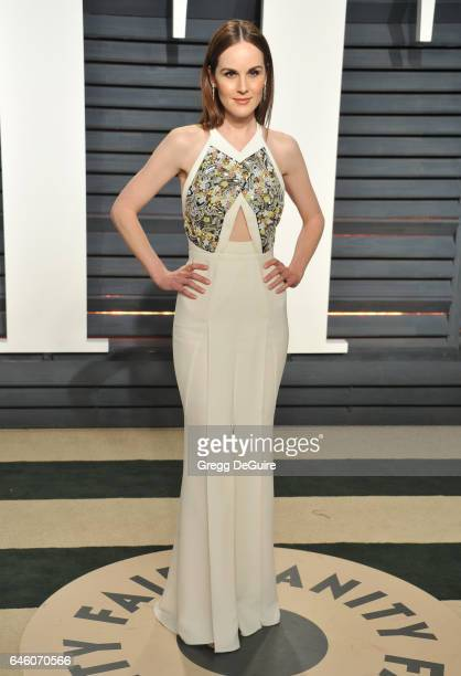 Actress Michelle Dockery arrives at the 2017 Vanity Fair Oscar Party Hosted By Graydon Carter at Wallis Annenberg Center for the Performing Arts on...