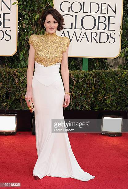 Actress Michelle Dockery arrives at the 70th Annual Golden Globe Awards held at The Beverly Hilton Hotel on January 13, 2013 in Beverly Hills,...