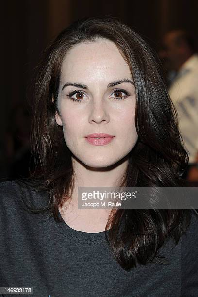 Actress Michelle Dockery attend the Burberry Prorsum show as part of Milan Fashion Week Menswear Spring/Summer 2013 on June 23 2012 in Milan Italy