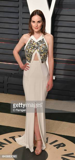 Actress Michelle Dockery attends the 2017 Vanity Fair Oscar Party hosted by Graydon Carter at Wallis Annenberg Center for the Performing Arts on...