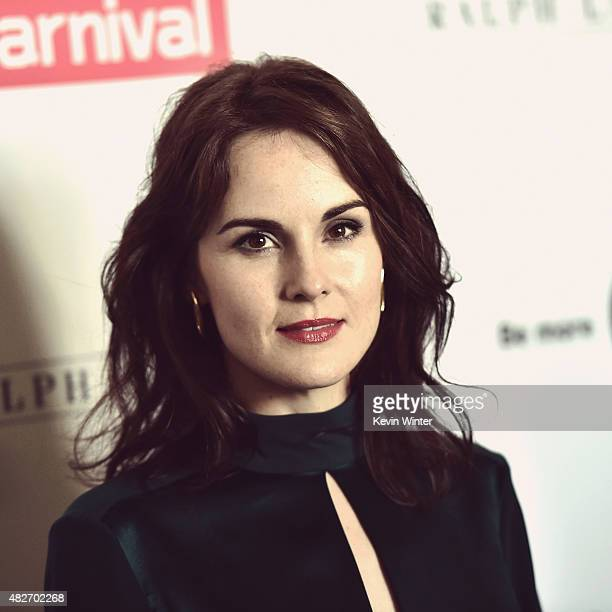Actress Michelle Dockery attends the 'Downton Abbey' cast photo call during the 2015 Summer TCA Tour at The Beverly Hilton Hotel on August 1 2015 in...