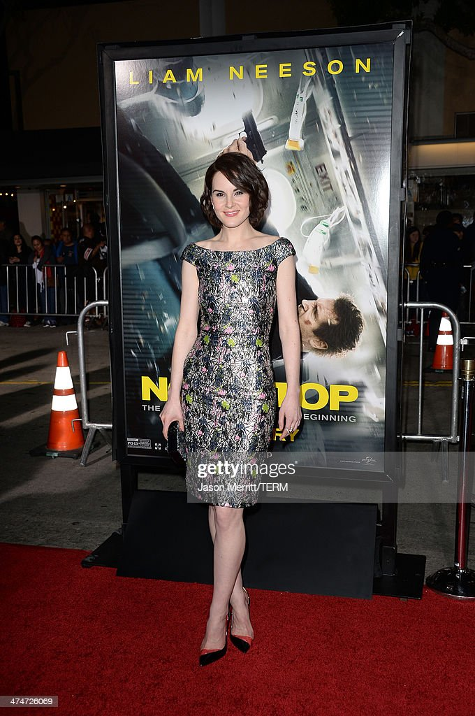 Actress Michelle Dockery attends the premiere of Universal Pictures and Studiocanal's 'Non-Stop' at Regency Village Theatre on February 24, 2014 in Westwood, California.