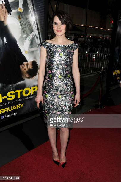 """Actress Michelle Dockery attends the premiere of Universal Pictures and Studiocanal's """"Non-Stop"""" at Regency Village Theatre on February 24, 2014 in..."""