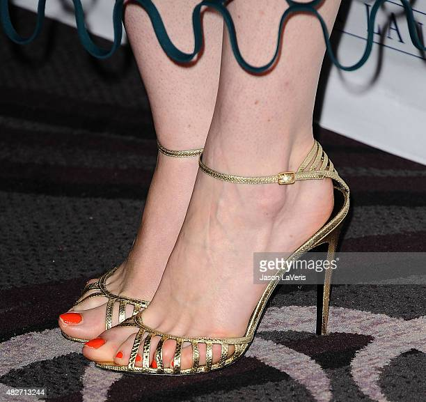 Actress Michelle Dockery shoe detail attends the 'Downton Abbey' cast photo call at The Beverly Hilton Hotel on August 1 2015 in Beverly Hills...