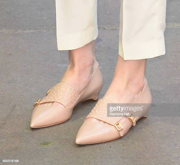 Actress Michelle Dockery shoe detail from Downton Abbey is seen on 'Good Morning America' on December 7 2015 in New York City